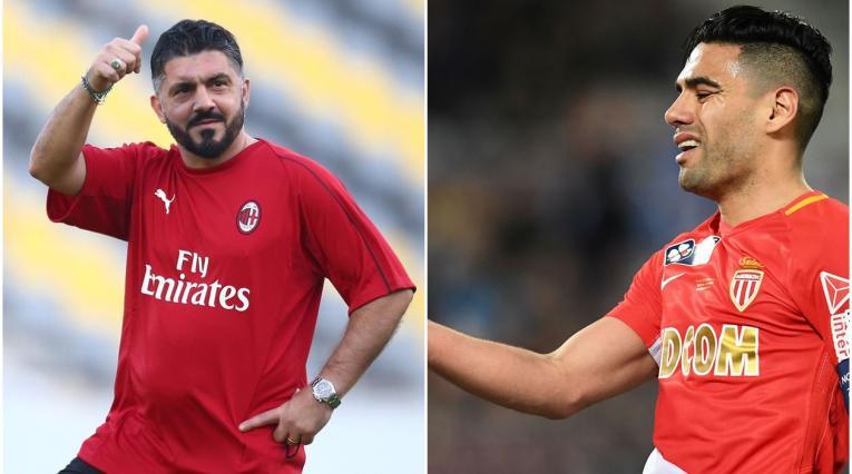 Gennaro Gattuso, técnico del AC Milan y Falcao García