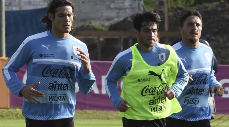 Nicolás Lodeiro entrenando con la Selección de Uruguay