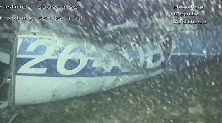Restos de la avioneta que ocupaba Emiliano Sala