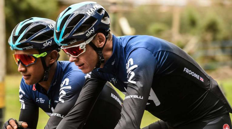 Chris Froome entrenando junto a Egan Bernal antes del Tour Colombia.