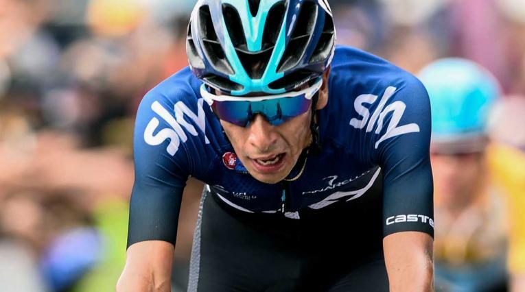 Iván Sosa al llegar segundo en la última etapa del Tour Colombia 2019
