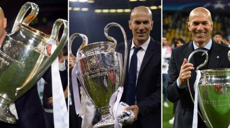 Zinedine Zidane, técnico francés, con las tres Champions consecutivas ganadas con el Madrid