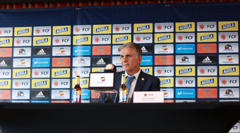 Carlos Queiroz anunciando la convocatoria de Colombia para los partidos ante Japón y Corea del Sur.