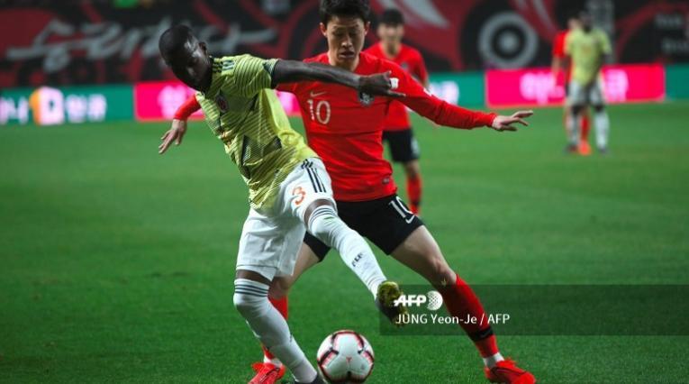 Cristian Borja, con Colombia, en el partido frente a Corea del Sur