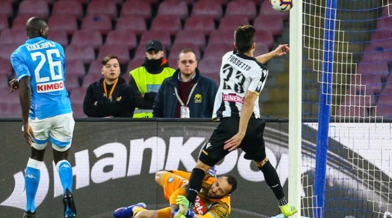 Choque de David Ospina en Nápoli vs Udinese