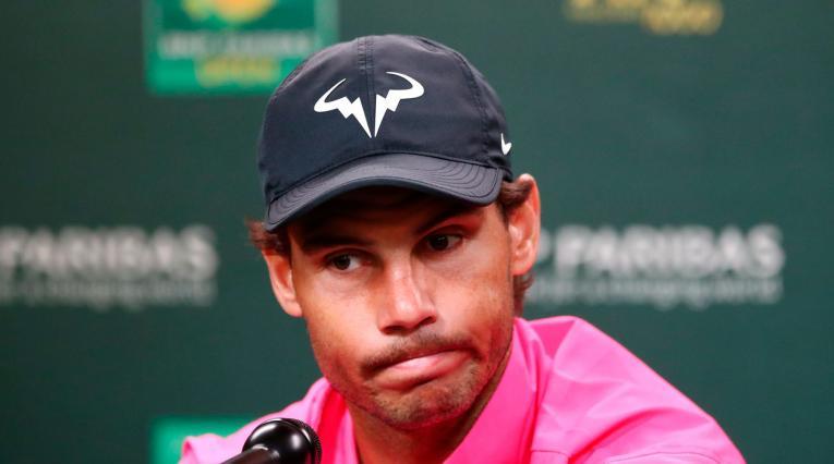 Rafael Nadal en rueda de prensa anunciando que no jugaría ante Federer