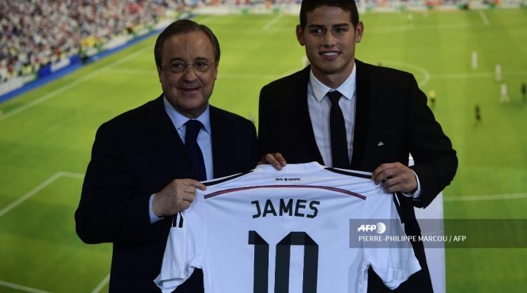 Florentino Pérez y James Rodríguez - Real Madrid