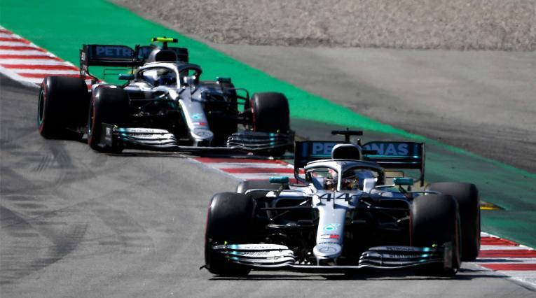 Lewis Hamilton y Valtteri Bottas en el Gran Premio de España de Fórmula 1