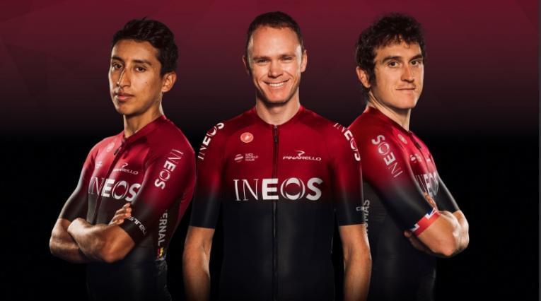 Egan Bernal, Chris Froome y Geraint Thomas - Team INEOS