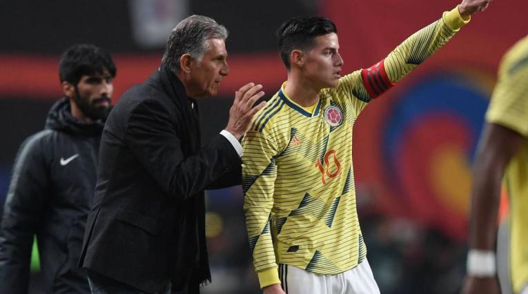 Carlos Queiroz y James Rodríguez - Selección Colombia