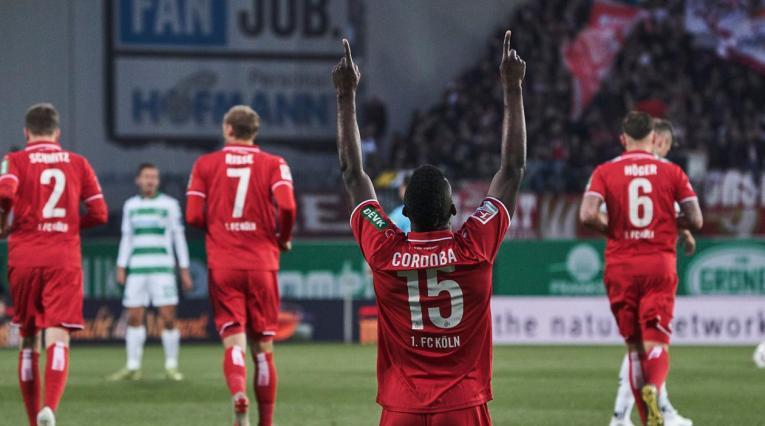 John Córdoba celebrando uno de los goles ante Greuther Fürth en la Bundesliga 2