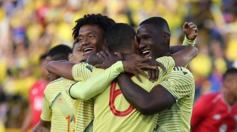 Colombia celebra el gol de Tesillo frente a Panamá en El Campín.