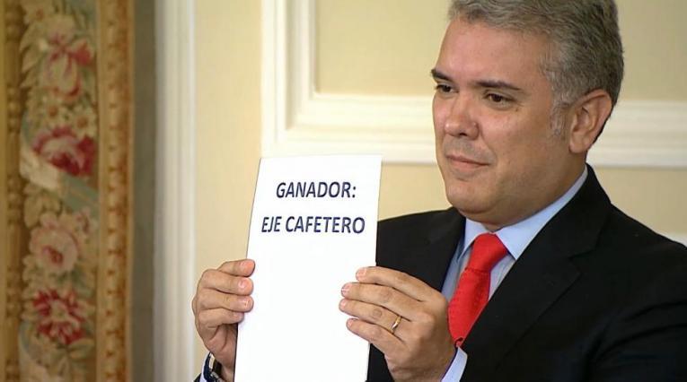 Presidente Iván Duque anunciando al Eje Cefetero como sede de los Juegos Nacionales