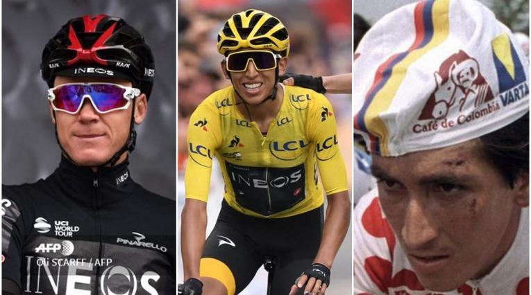 Chris Froome, Egan Bernal y Lucho Herrera, ciclistas