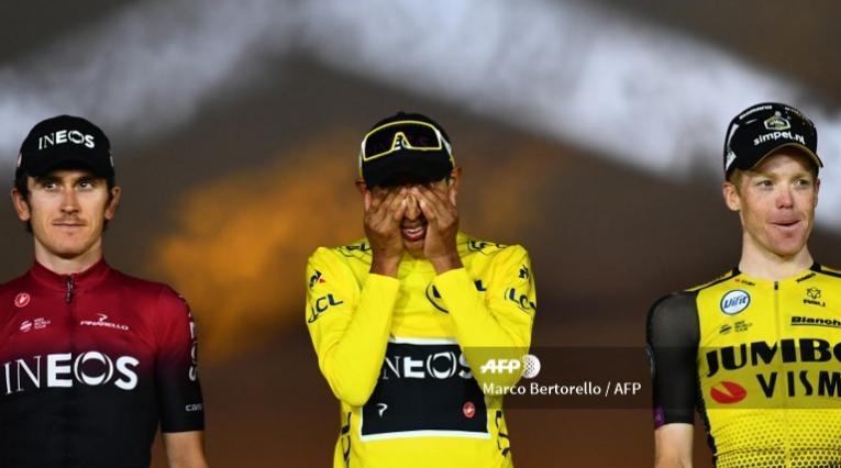 Tour de Francia - podio Egan Bernal campeón Tour de Francia