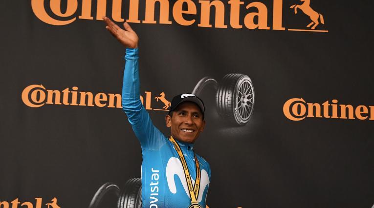 Nairo Quintana, ciclista colombiano al servicio del Movistar Team, luego de ganar la etapa 18 del Tour de Francia