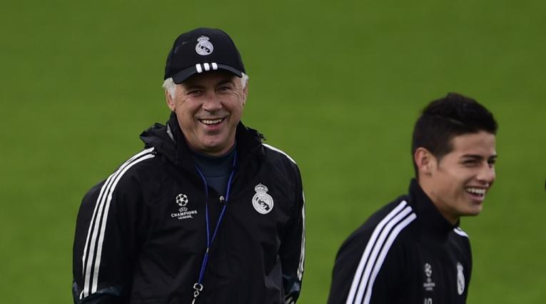 James y Ancelotti en el Real Madrid