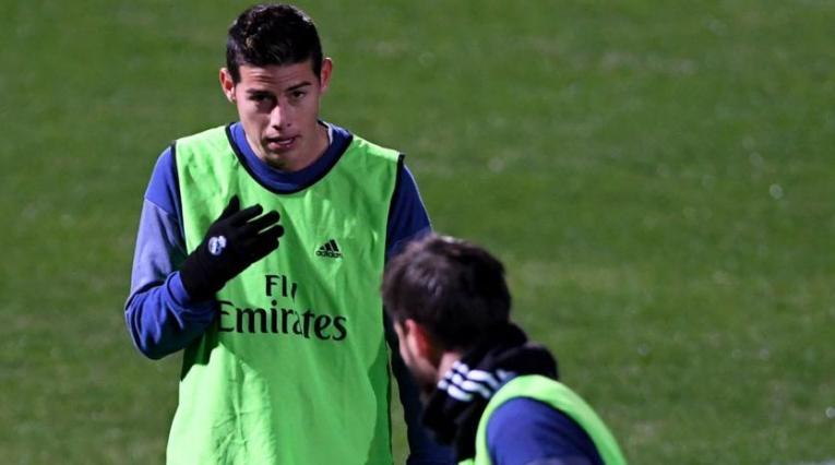 James Rodríguez, entrenando con el Real Madrid