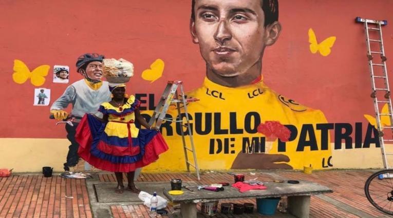 Muro en Zipaquirá en honor a Egan Bernal