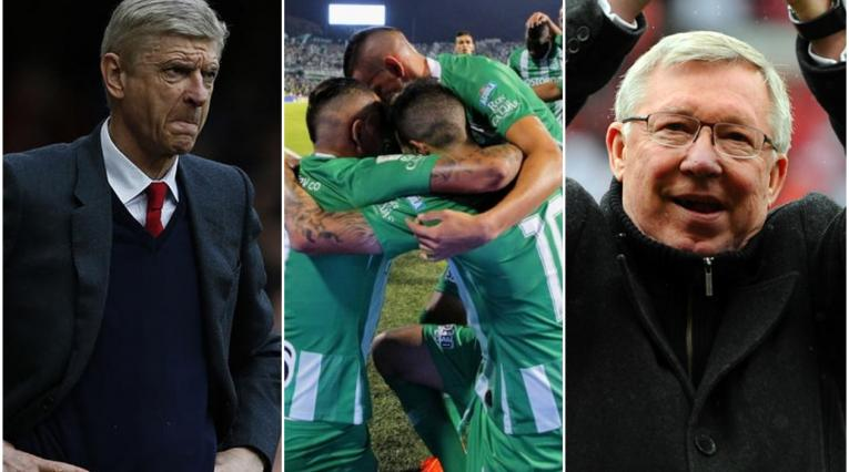 Arsene Wenger y Alex Ferguson - equipo de Nacional celebrando un gol