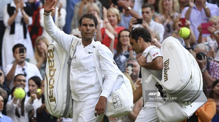 Roger Federer y Rafael Nadal en Wimbledon