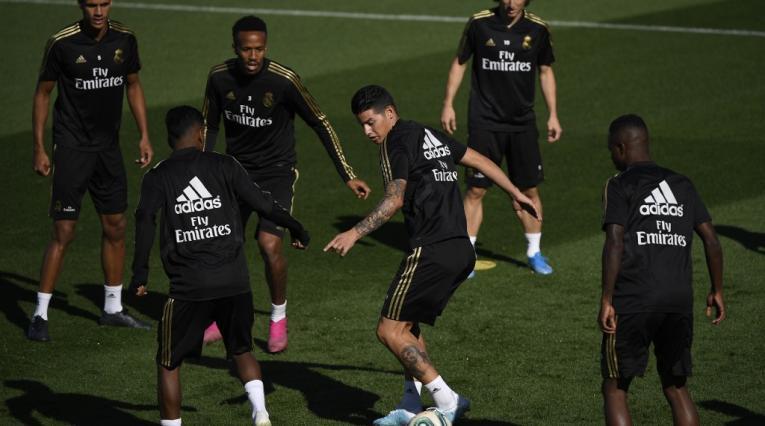 James Rodríguez en un entrenamiento del Real Madrid