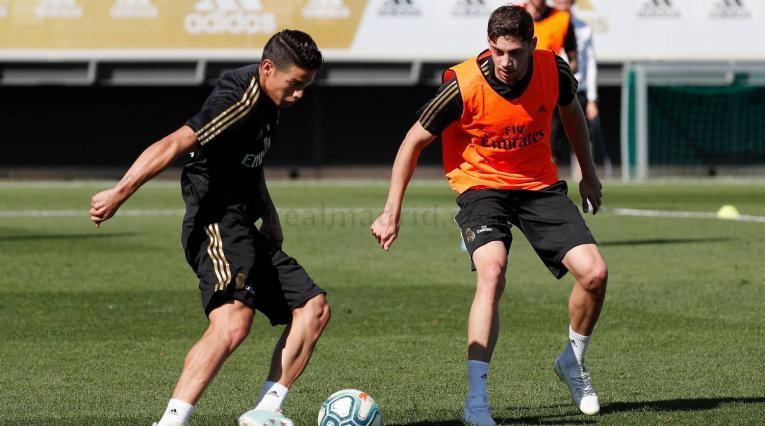 Entrenamiento de James Rodríguez con el Real Madrid