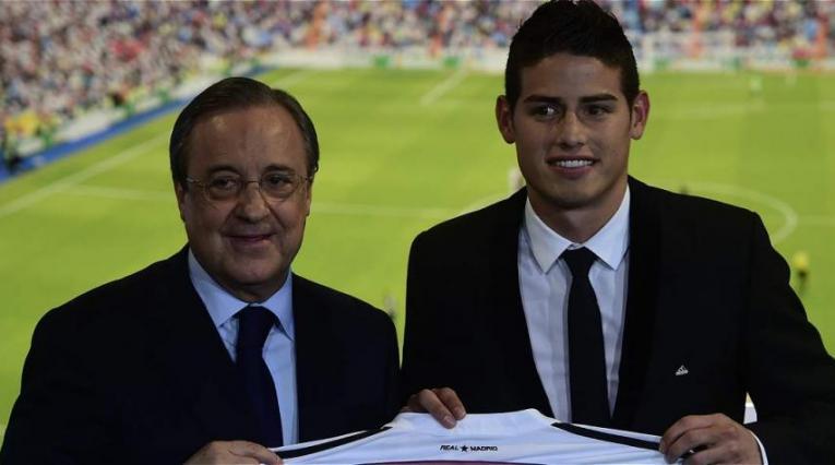 Florentino Pérez y James Rodríguez