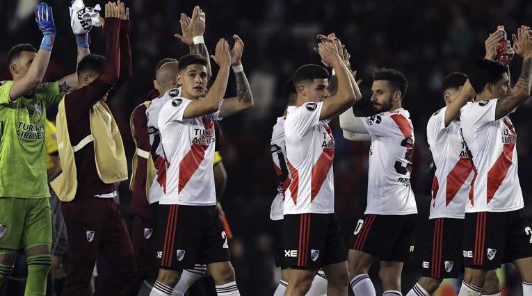 River Plate celebrando la victoria ante Boca Juniors