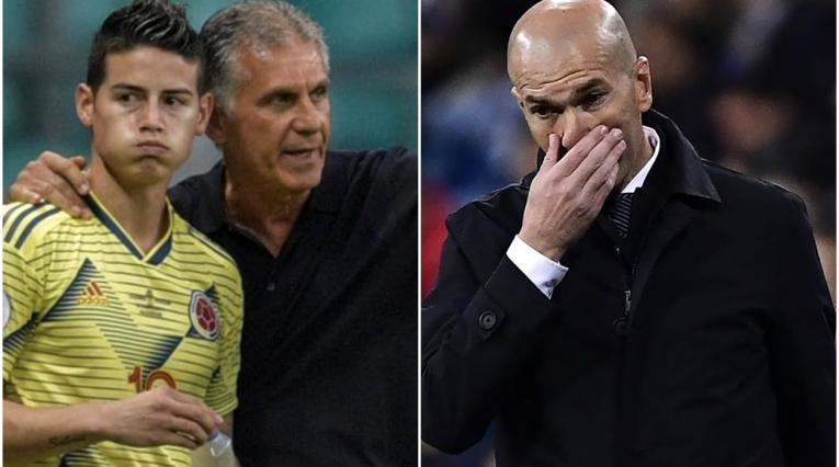 James Rodríguez, Queiroz y Zidane