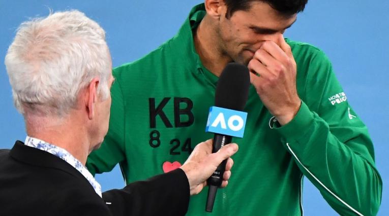 Djokovic llorando por Kobe Bryant