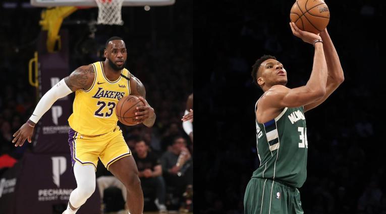 LeBron James y Giannis Antetokounmpo