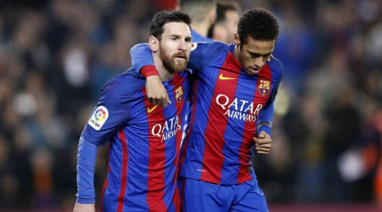 Messi y Neymar jugando en el Barcelona