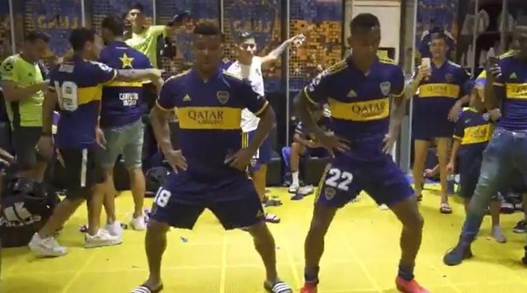 Fabra y Villa celebraron con baile el campeonato de Boca Juniors