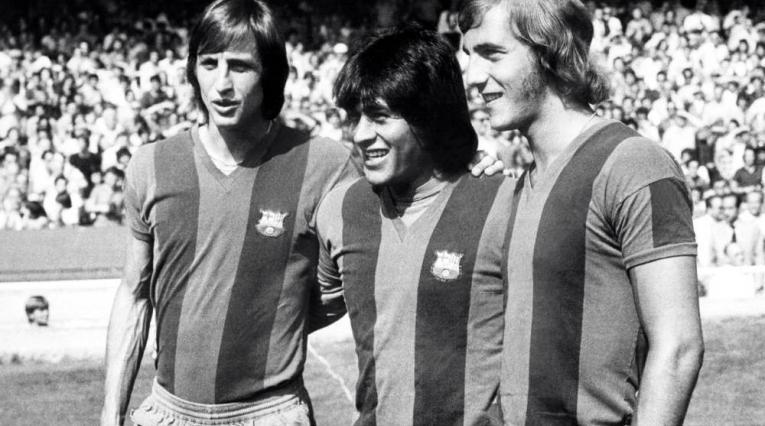 Johan Cruyff, Hugo 'Cholo' Sotil y Johan Neeskens