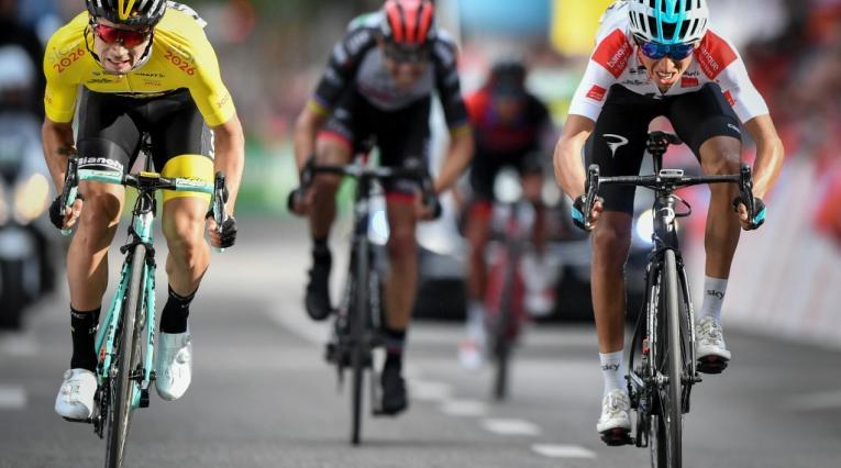 Primoz Roglic y Egan Bernal en el Tour de Francia 2018