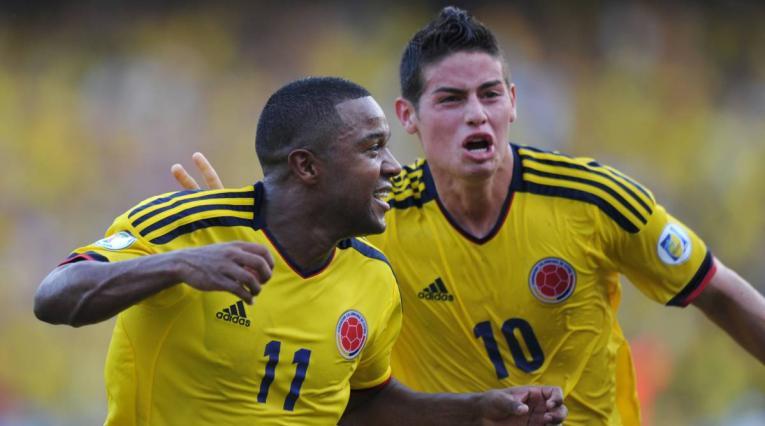 Dorlan Pabón y James Rodríguez en Selección