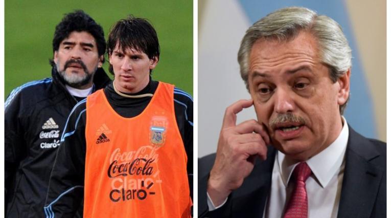 Maradona, Messi y Alberto Fernández - Argentina