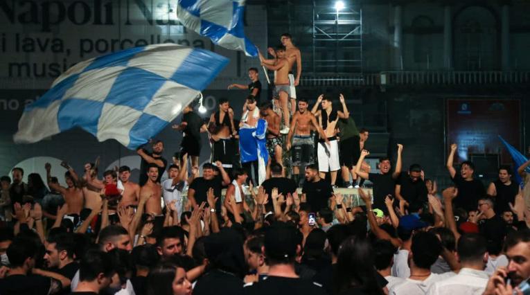 Calles de Nápoles tras el título de la Copa de Italia