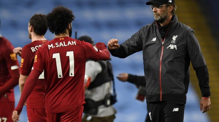 Mohamed Salah y Jurgen Klopp en Liverpool
