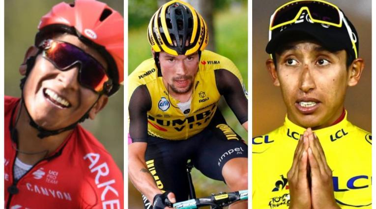Nairo Quintana, Primoz Roglic y Egan Bernal