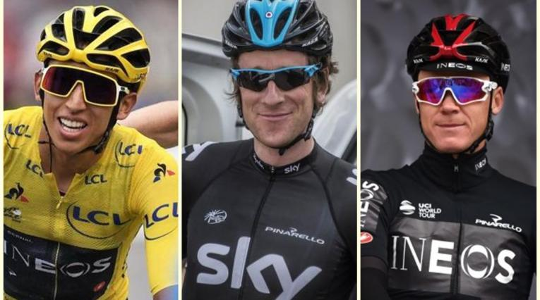 Egan Bernal, Bradley Wiggins y Chris Froome