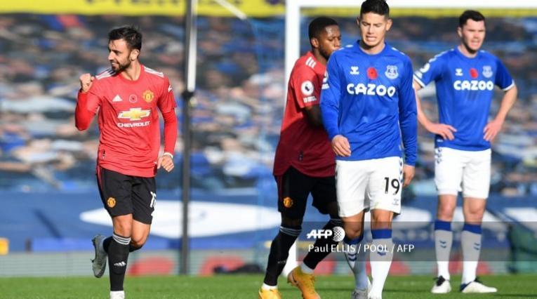 James Rodríguez, jugador del Everton, en el partido ante el United