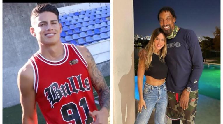 James Rodríguez, Shannon de Lima y Scottie Pippen
