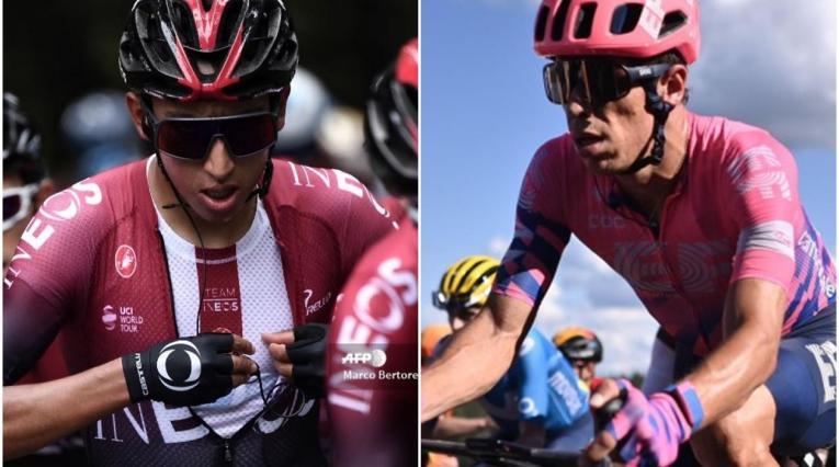 Egan Bernal y Rigoberto Urán, ciclistas colombianos