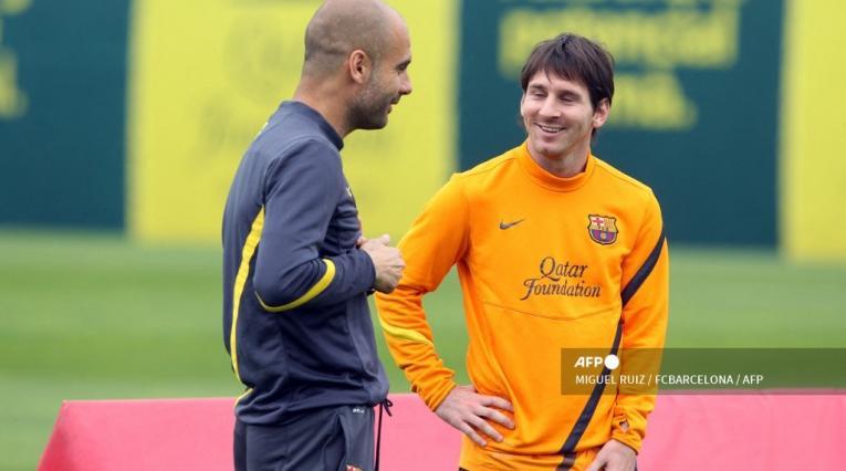 Guardiola y Messi en Barcelona