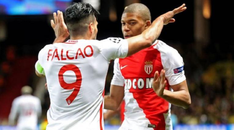 Falcao y Mbappé en Mónaco