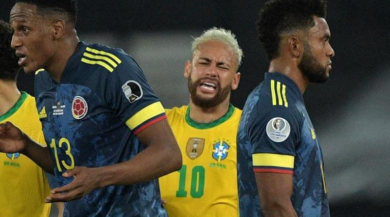 Pelea entre Neymar y Miguel Borja en el Colombia vs Brasil