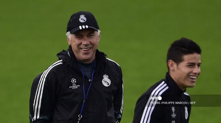 James Rodríguez y Carlo Ancelotti, Real Madrid