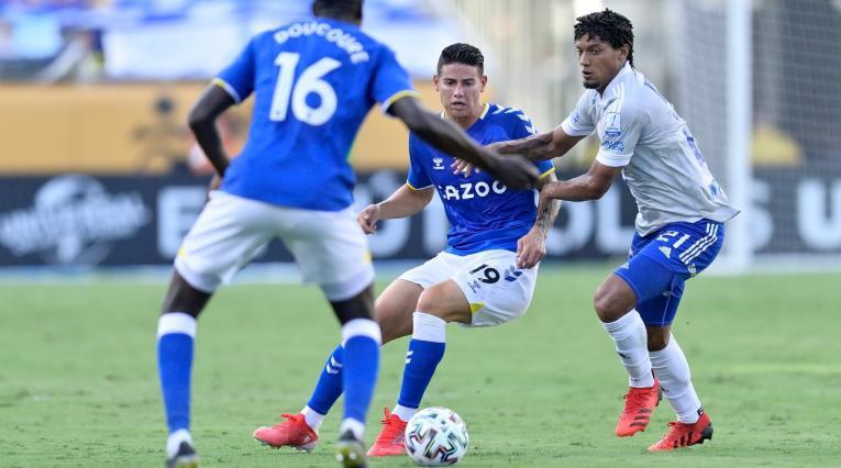 Everton vs Millonarios; James Rodríguez y Juan Pereira